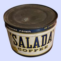 Collectible Vintage Tin Litho Salada Coffee Advertising  Can