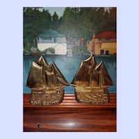 - Bluenose Lunenburg Foundry Canada Clipper Ship Nautical Brass Bookends Vintage