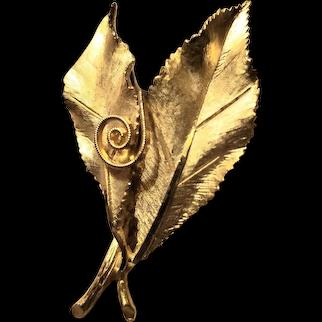 Gold Plate Leaf Brooch Designer Signed BSK