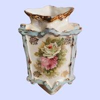 Small Delicate Victorian Era Lustre  Floral Themed Corner Bud Vase