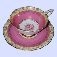 Gold Decorated Royal Stafford Teacup Saucer Pink Roses