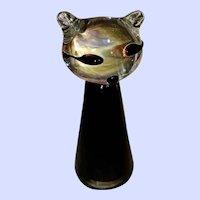 Finnish Kumela Art Glass Artist Signed Armando Jacobino Cat Paperweight-Finland