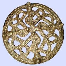 Vintage Bronze Kalevala Koru Viking Pin Brooch