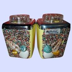 Vintage Kitsch Florida Salt & Pepper Shakers Plastic Glitter Seashells Souvenir Salt Pepper Shaker Set Old Orchard Beach Maine