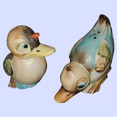 Hand Printed  Ceramic Bird Salt Pepper Shakers Japan