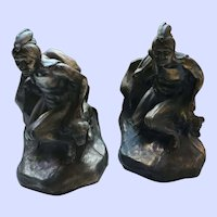 VTG White Metal Bronze Finish Native American Scout and Canine Bookend Set