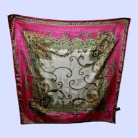 Pretty Paisley Theme Acetate  Rolled Hem Ladies Fashion Scarf