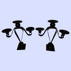 Heavy Black Metal And Wood Ball Pillar Candle Candelabra Set Home Decor Accent