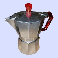 Lilly Metal Moka Express Jr Pot with Cherry Red Handle