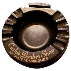 Eagle Quality Black Plastic Advertising Ashtray Match Book Holder Curly's Barber Shop 821 State St Springfield