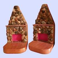 VTG Pebble Stone Wood Folk Art Fireplace Bookend Set