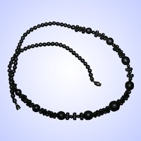 Black Satin Glass Mourning Necklace with Barrel Style Clasp
