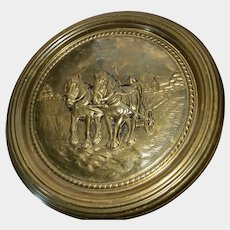 14.5 Inch Embossed Brass Wall Plate Plaque Work Horse Countryside Plow