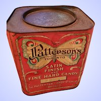 Large Farmhouse Decor Advertising Tin Litho Can PATTERSON'S Satin Finish & Fine Hard Candy Toronto