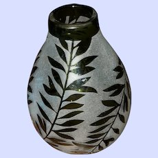 SMALL Cut to Clear Frosted Glass Vase Vine Leaf Theme
