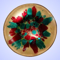 Mid-Century  Modern Era Abstract Enamel on Copper Dish Signed WIN NG San Fransisco