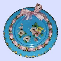 Victorian Era Blue Opaline Ribbon Plate Hand Painted