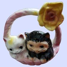 Charming Vintage Kitten Kitty Cat Basket Ceramic Wall Pocket