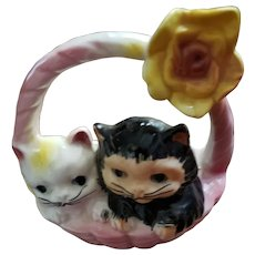 Charming Vintage Kitten Kitty Cat Basket Ceramic Wall Pocket