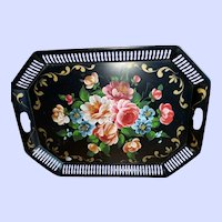 Beautiful Vintage Toleware Handpainted Floral Theme Reticulated Metal Lrg Tray