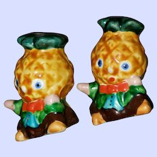 VINTAGE Antropomorphic Majolica Style Pineapple Head Salt Pepper Shakers