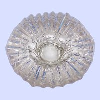 Beautiful reverse Embossed Opalescent Clear Glass Bowl Ruffled Floral