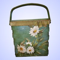 VTG  Woven Painted Basket Purse  Floral THEME Artist Signed Helen Rust
