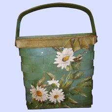 VTG  Woven Painted Basket Purse  Floral THEME Artist Signed Helen Rust