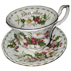Royal Albert Flower of the Month Series Christmas Rose DECEMBER Teacup Saucer