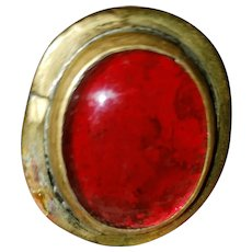 CANADIAN  Modernist Brass Royal Red Art Cabochon One Size Fits All Brass Ring by Rafael Alfandary
