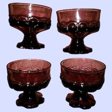 Set of Four Plum Amethyst Purple Glass Sherbet Set Franciscan Madeira by Tiffin