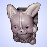 VINTAGE Purple Pottery Bunny Rabbit Planter Home Decor Accent
