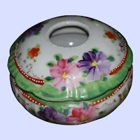 Beautiful Hand Painted Moriage Accenting on this Floral Themed Hair Receiver