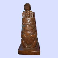 10 Inch Cast Resin Totem Statue Sculpture by Shamans British Columbia Canada Haida Art