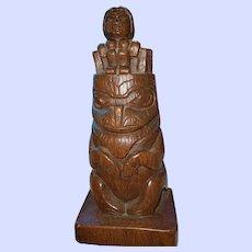 10 Inch Cast Resin Totem Statue Sculpture by Shamans British Columbia Canada Haida Art