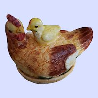 Gently Used Majolica Style Earthenware Hen on Nest with Chick Butter Dish