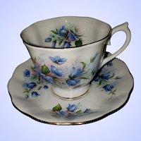 Lovely Vintage Royal Albert Bone China England Blue Floral Teacup Saucer Set