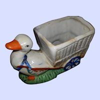 Charming Vintage MI Japan Ceramic DUCK Cart  Cache Pot