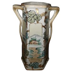 Hand Painted Moriage Decoarated 2 Handle Vase Royal Nippon Nishiki