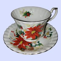 Royal Albert Bone China England Poinsettia Teacup Saucer Set