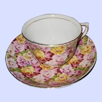 Vintage Colclough China Chintz Teacup Saucer Set MI England