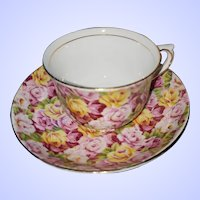 Vintage Colclough China Chintz Teacup Saucer Set MI England