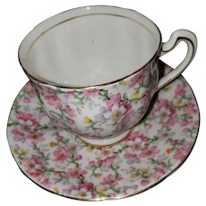 May Medley chintz Teacup Saucer Set Royal Standard England with Flaws