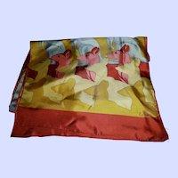 VINTAGE Designer Signed ECHO Colorful Silk Scarf Fun Kangaroo Theme