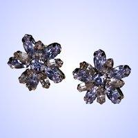 Designer Signed Sherman Faux Alexandrite Rhinestone Screw Style Earrings