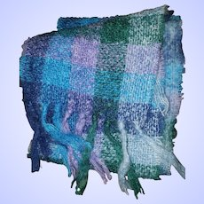 Gently Used Vintage Woven  Plaid Wool Blend Fringed Scarf