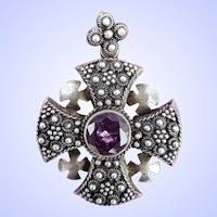VTG Jerusalem 925 Sterling Silver MALTESE Cross Pendant Pendent