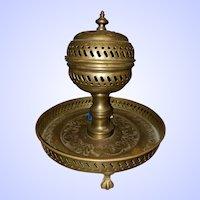 VTG Brass Footed Incense Spice Burner Brazier Brule Ottoman