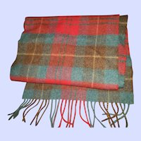 Gently Used Vintage Lambswool Plaid Fringed Scarf John Hanly Woven in Ireland