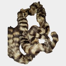 VINTAGE 70 Inch Long Racoon Tail Fur Scarf